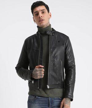 Gerald Mens Mandarin Collar Slimfit Café Racer Leather Jacket