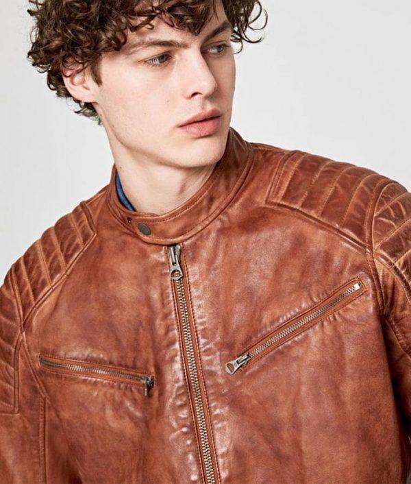 Charlie Mens Padded Shoulders Café Racer Leather Jacket