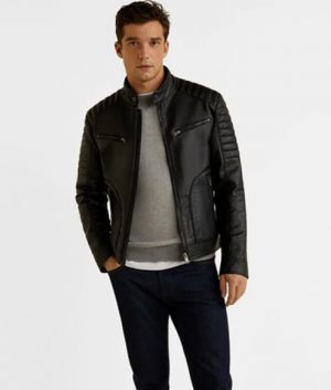 EveRaws Mens Slimfit Black Leather Jacket