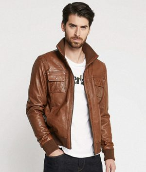 Leflore Mens Standing Collar Leather Jacket