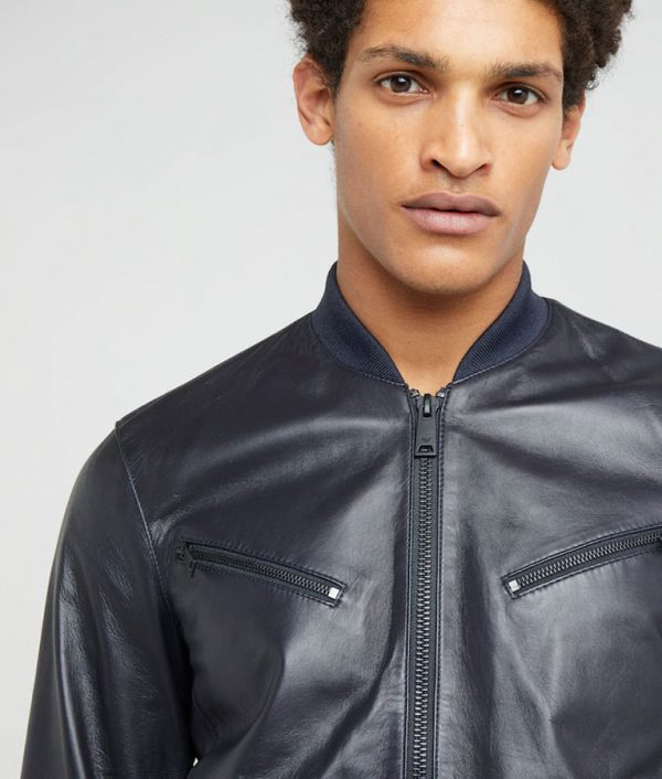 Jeffrey Mens Standing Collar Dark Blue Café Racer Bomber Jacket