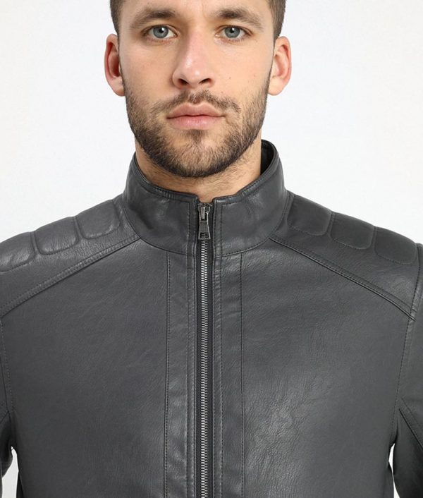Murray Mens Iron Dark Grey Cafe Racer Leather Jacket
