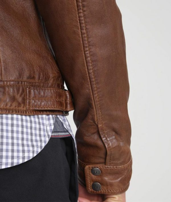 Mens Standing Collar Slimfit Brown Café Racer Jacket