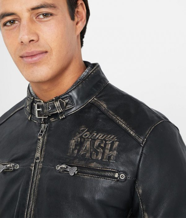 Wyble Mens Standing Collar Slimfit Cafe Racer Leather Jacket