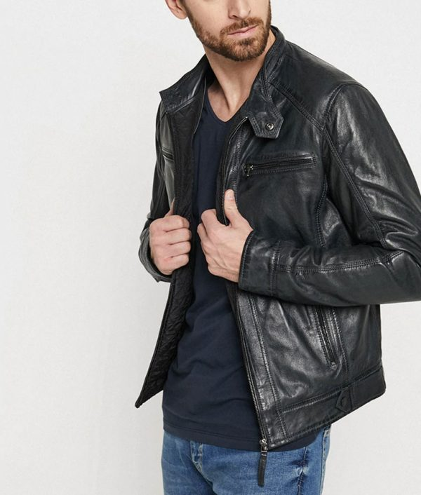 Romero Mens Collar Black Leather Jacket