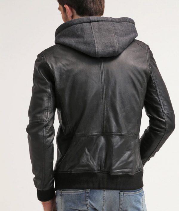 Michael Mens Hooded Collar Black Cafe Racer Leather Jacket