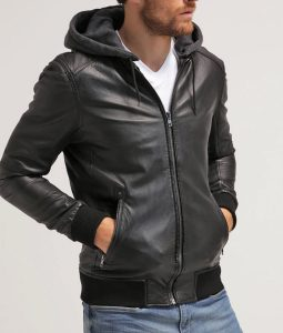 Michael Mens Hooded Collar Cafe Racer Bomber Leather Jacket