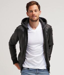 Michael Mens Hooded Collar Black Cafe Racer Bomber Leather Jacket