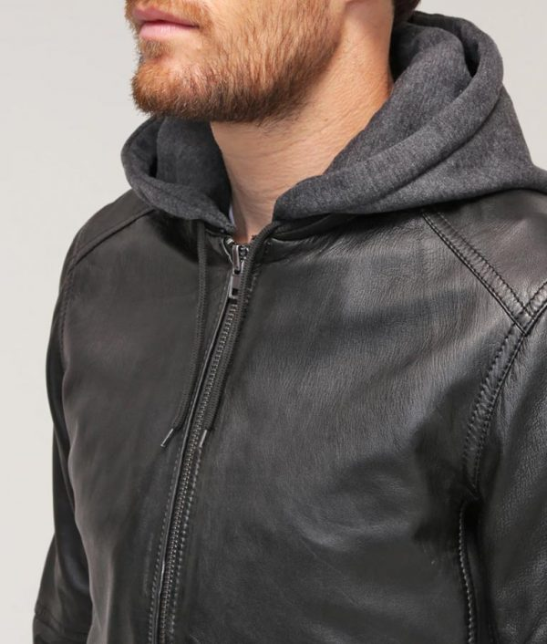 Mens Hooded Collar Black Cafe Racer Bomber Leather Jacket
