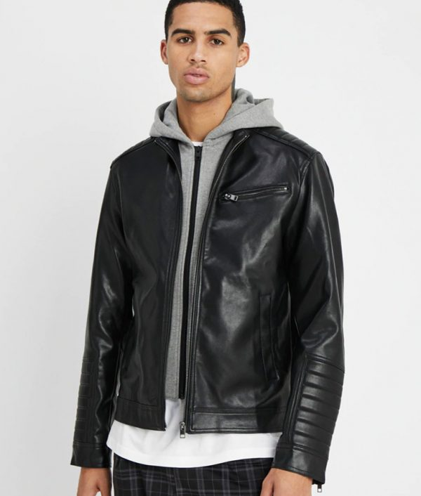 Mens Hooded Collar Slimfit Black Leather Jacket