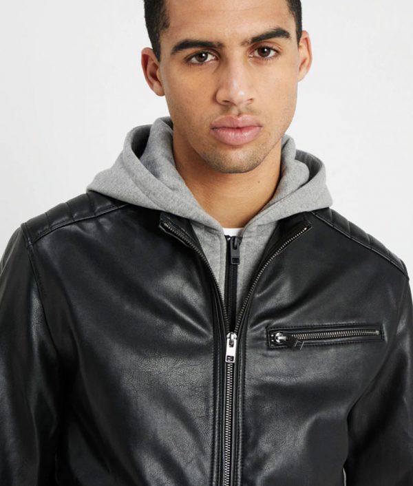 Michael Mens Hooded Collar Slimfit Black Leather Jacket