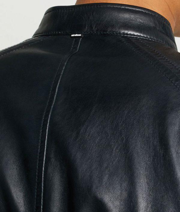 Mike Mens Mandarin Collar Casual Leather Jacket