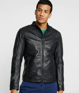 Mike Mens Mandarin Collar Casual Black Café Racer Jacket