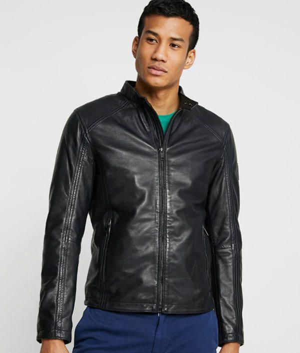 Mike Mens Mandarin Collar Casual Black Café Racer Jacket