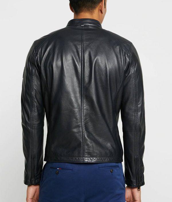 Mens Mandarin Collar Casual Black Café Racer Leather Jacket