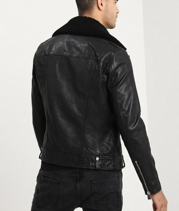 Mitchell Mens Lined Collar ZiP Up Black Leather Jacket