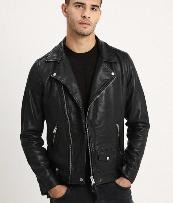 Mitchell Mens Lined Collar ZiP Up Leather Jacket
