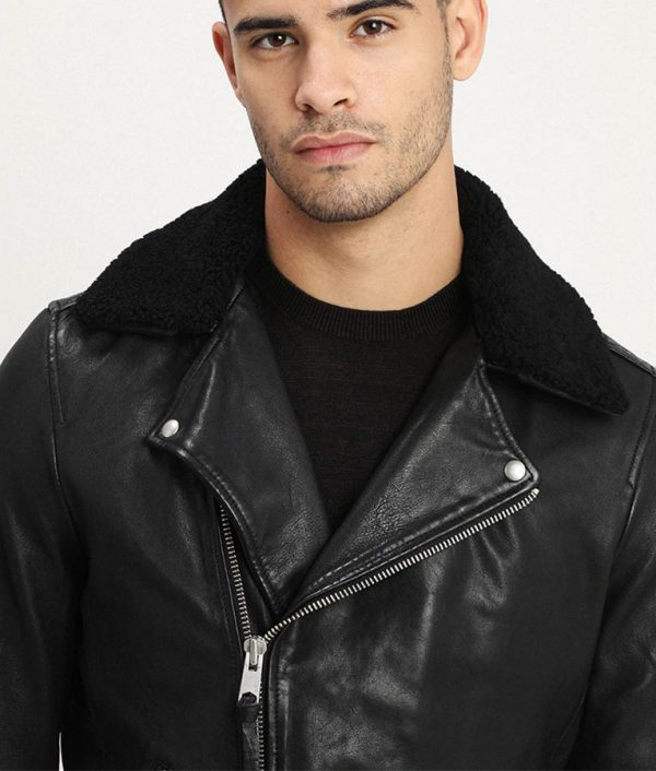 Mens Lined Collar ZiP Up Black Leather Jacket