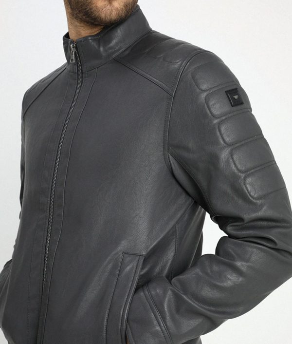 Murray Mens Standing Collar Iron Dark Grey Cafe Racer Leather Jacket