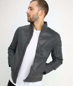 Murray Mens Standing Collar Iron Dark Grey Cafe Racer Jacket