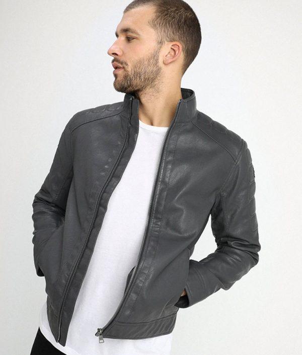 Murray Mens Standing Collar Iron Dark Grey Cafe Racer Jacket