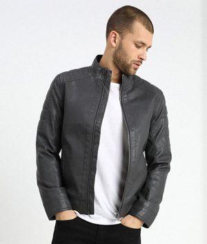 Mens Standing Collar Iron Dark Grey Cafe Racer Leather Jacket