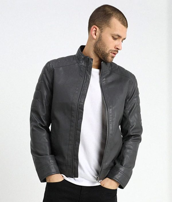 Mens Standing Collar Iron Dark Grey Cafe Racer Leather Jacket
