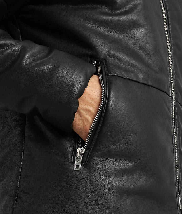 detailed images 2019 original rock-bottom price Nowell Mens Casual Warm Padding Black Leather Jacket