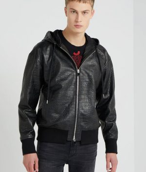 Oliver Mens Collar Bomber Black Leather Crocodile Jacket