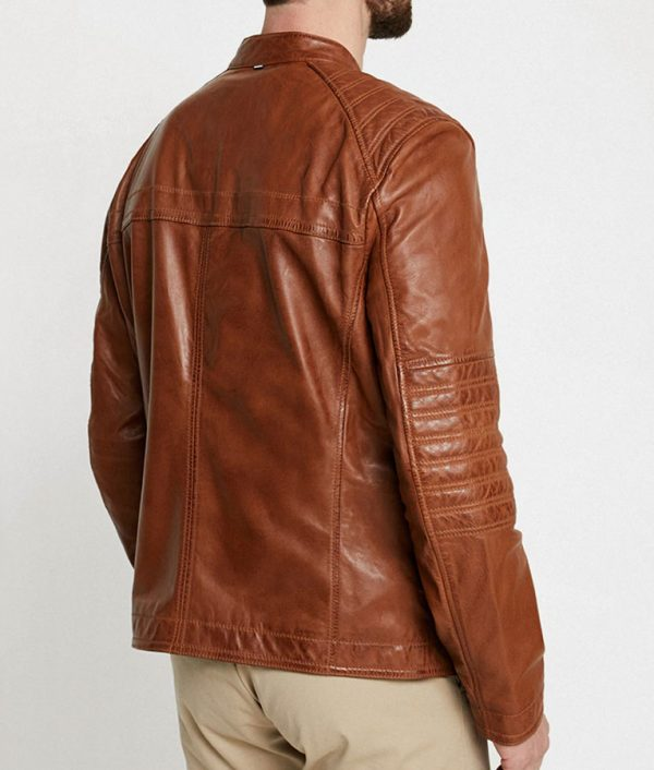 Paterson Mens Casual Style Brown Leather Jacket