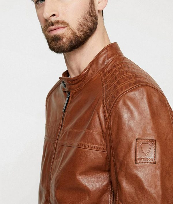 Paterson Mens Casual Café Racer Style Brown Jacket
