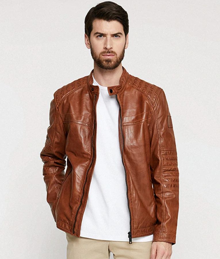 Paterson Mens Casual Cafe Racer Style Brown Leather Jacket
