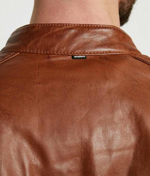 Paterson Mens Casual Café Racer Style Brown Leather Jacket