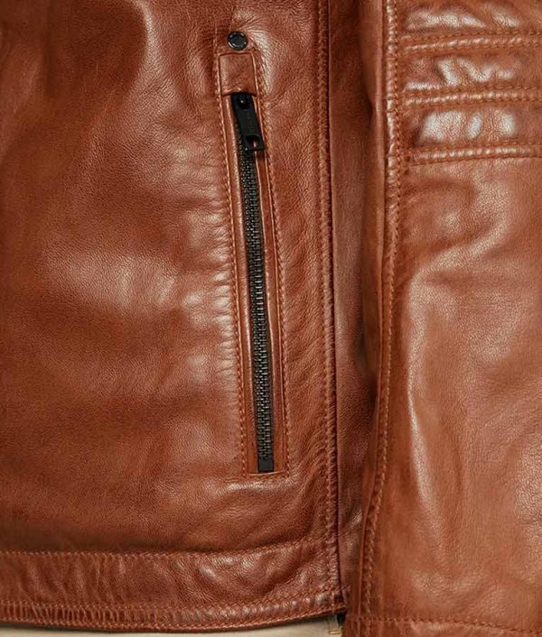 Paterson Mens Casual Café Racer Style Leather Jacket