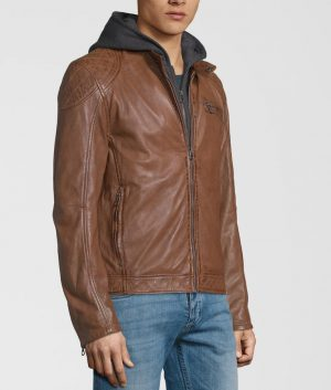 Patrick Mens Removeable Hood Leather Jacket