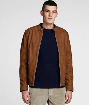 Peter Mens Casual Cognac Leather Jacket