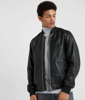 Pittman Mens Standing Collar Black Bomber Café Racer Jacket