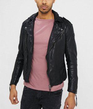 Richard Mens Lapel Collar Slimfit Motorcycle Leather Jacket