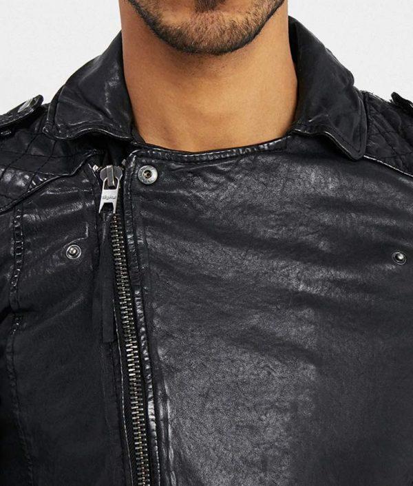 Mens Lapel Collar Slimfit Black Motorcycle Leather Jacket