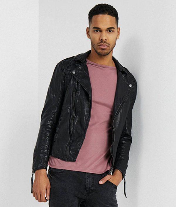 Richard Mens Lapel Collar Slimfit Black Motorcycle Jacket