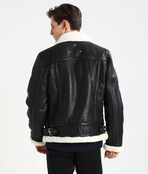 Mens Lined collar Shearling Casual Black Leather Jacket