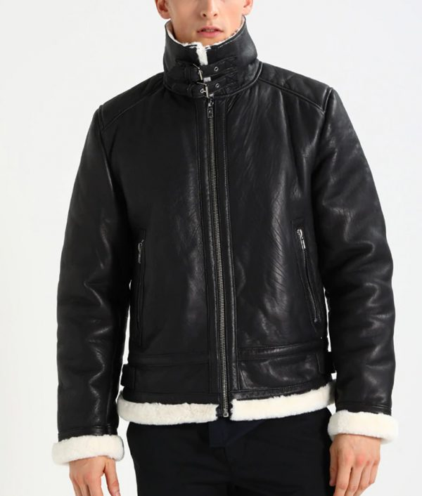 Rogers Mens Lined collar Casual Black Leather Jacket