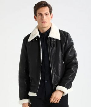Rogers Mens Lined collar Shearling Casual Black Leather Jacket