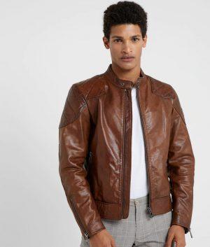 Mens Mandarin Collar Slimfit Cafe Racer Leather Jacket