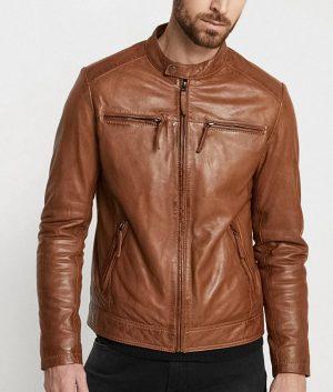 Stennett Mens Mandarin Collar Brown Café Racer Leather Jacket
