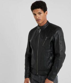 Mens Mandarin Collar Black Casual Cafe Racer Leather Jacket