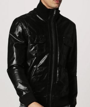 Stromain Mens Standing Collar Café Racer Leather Jacket