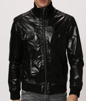 Stromain Mens Standing Collar Distressed Black Leather Jacket