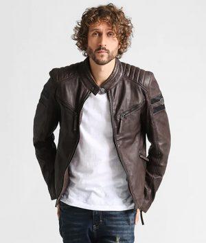 Terranova Mens Anthrazit Cafe Racer Leather Jacket