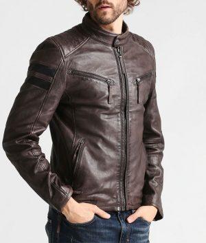 Terranova Mens Standing Collar Anthrazit Cafe Racer Jacket